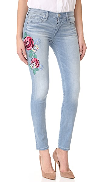 True Religion Halle Mid Rise Embroidered Skinny Jeans - Bali Blue