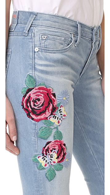 True Religion Halle Mid Rise Embroidered Skinny Jeans