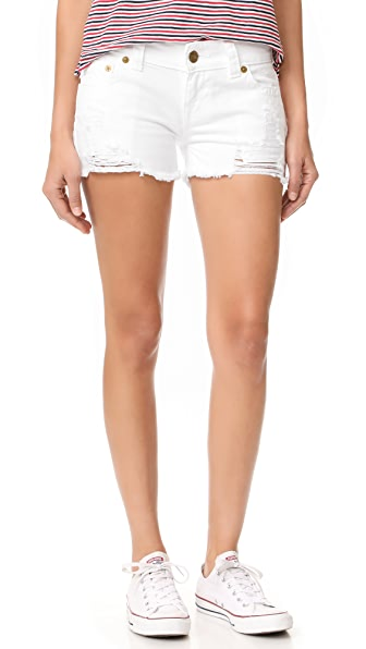 True Religion Keira Low Rise Cutoff Shorts In Urban Space Optic White
