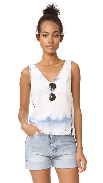 True Religion Raw Hem Top - Bleached Indigo