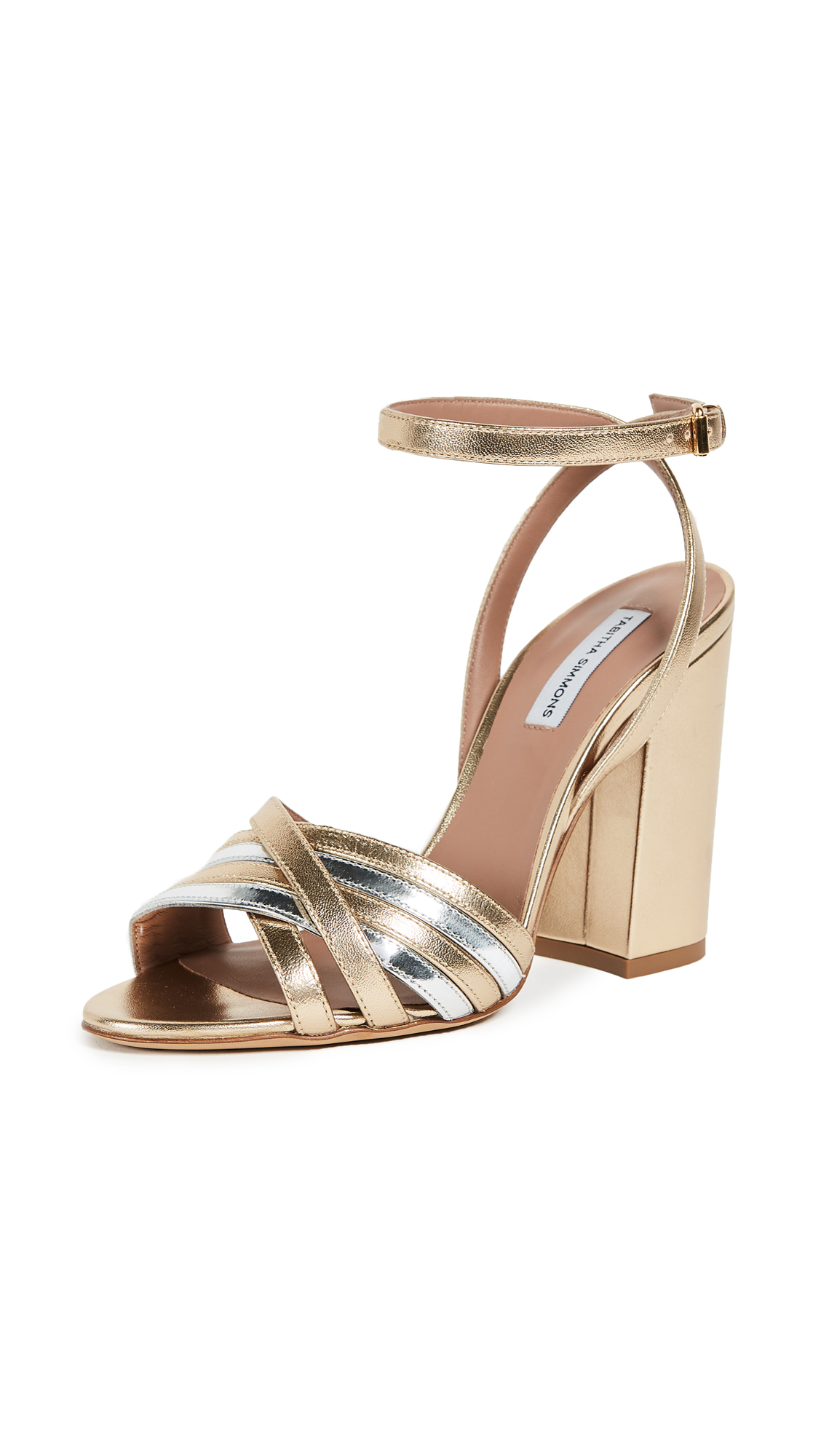 Tabitha Simmons Toni Metallic Sandal Pumps - Gold/Silver