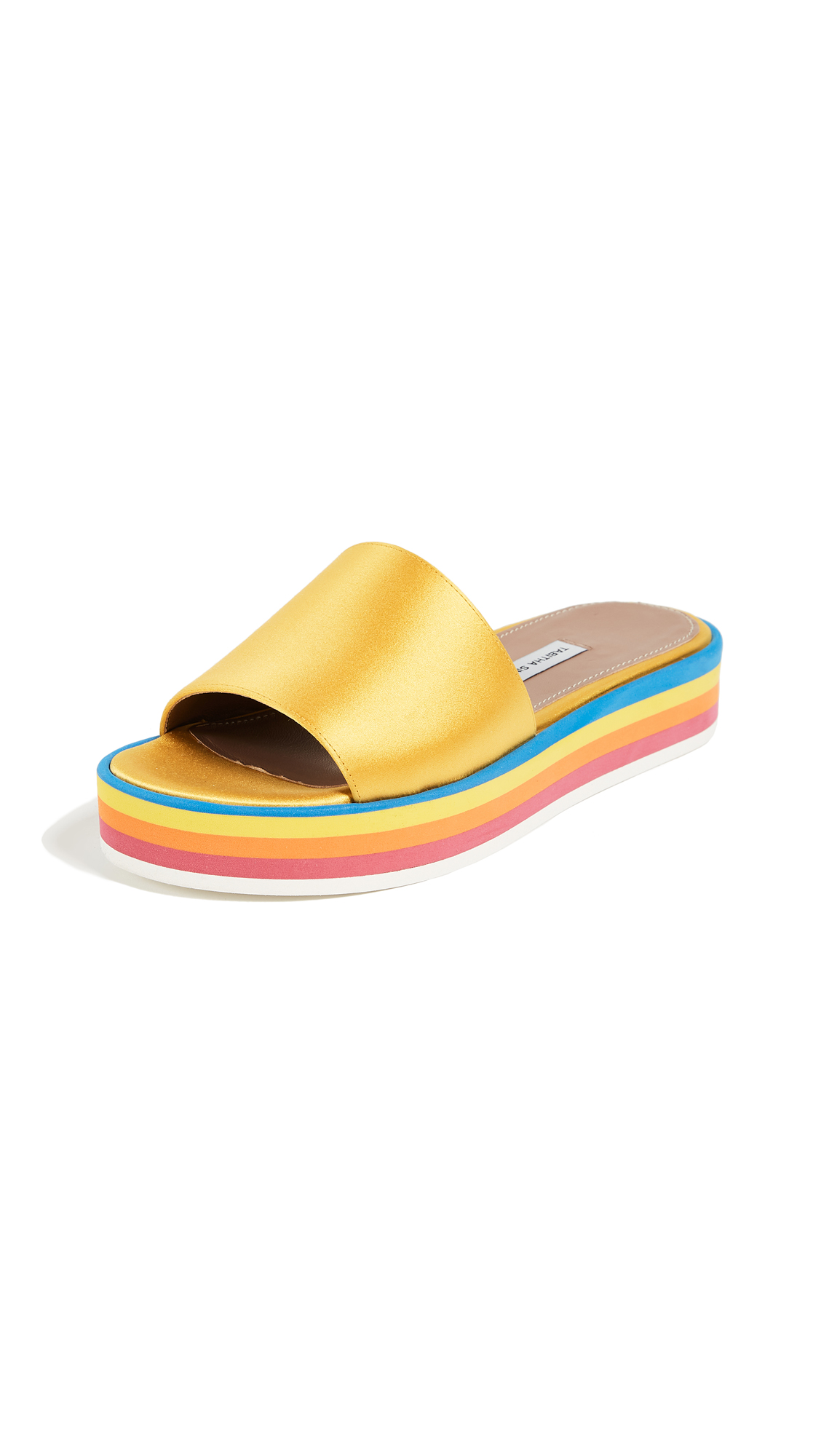 Tabitha Simmons Sophia Platform Slides - Yellow/Multi