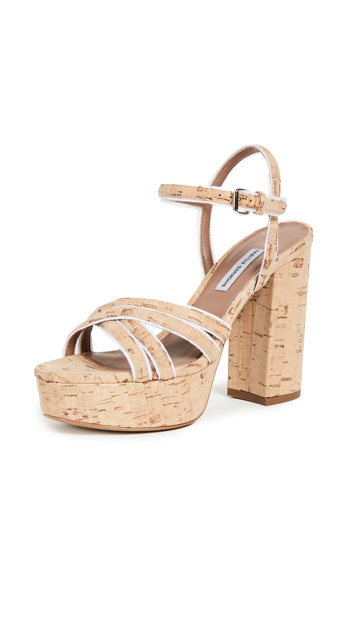 Tabitha Simmons Hensley Platform Sandal Pumps - Natural/White