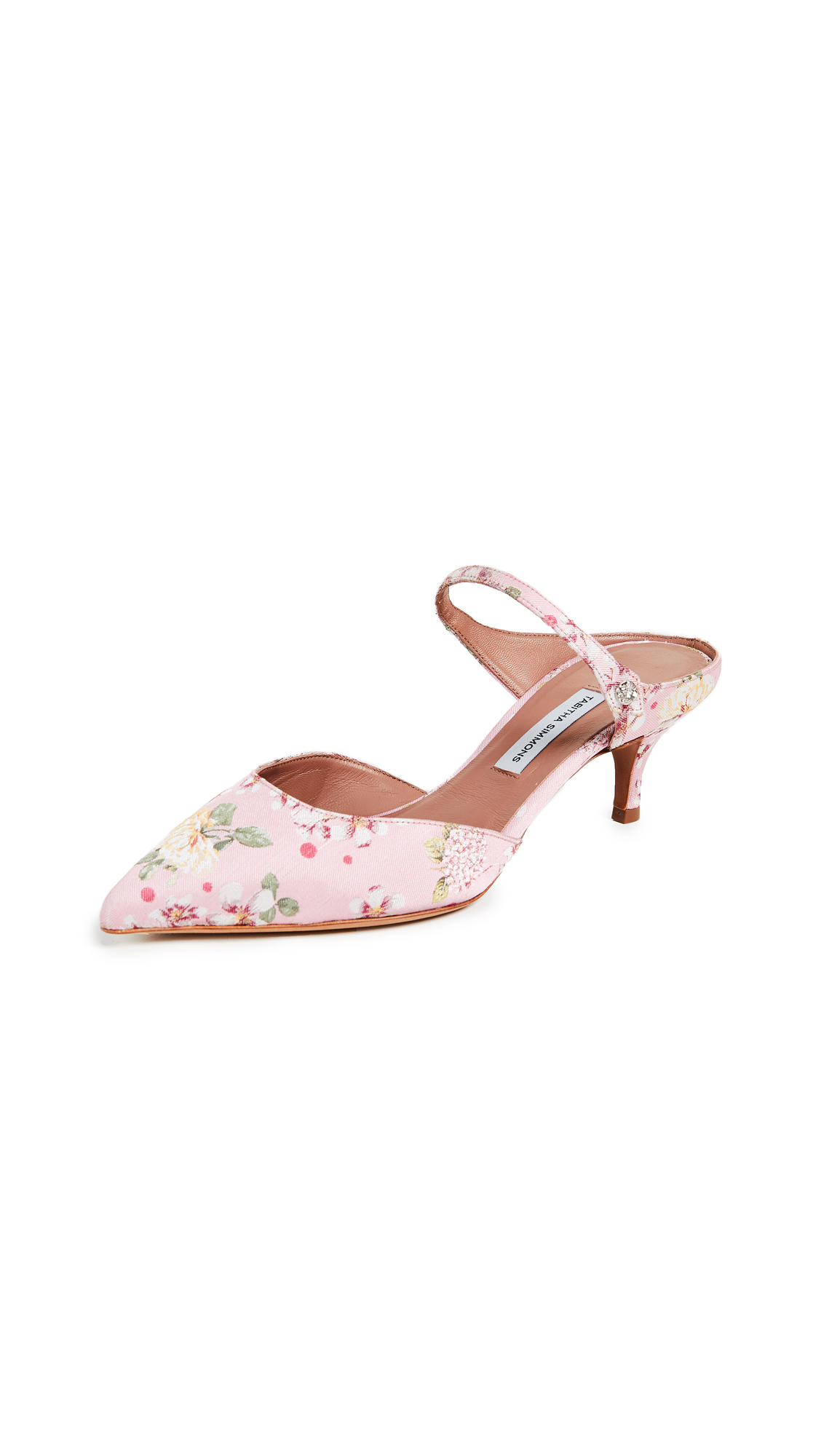 Tabitha Simmons Floral Mule Pumps - Pink Flower Jacquard