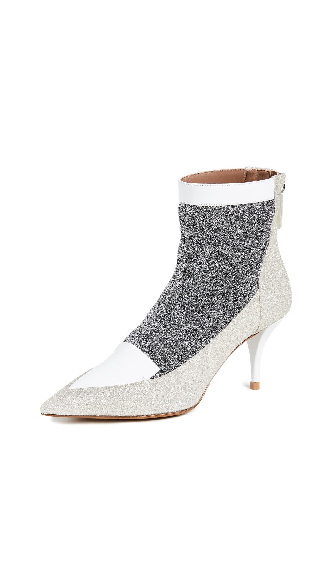 Tabitha Simmons Alana Kitten Heel Booties - Silver/White