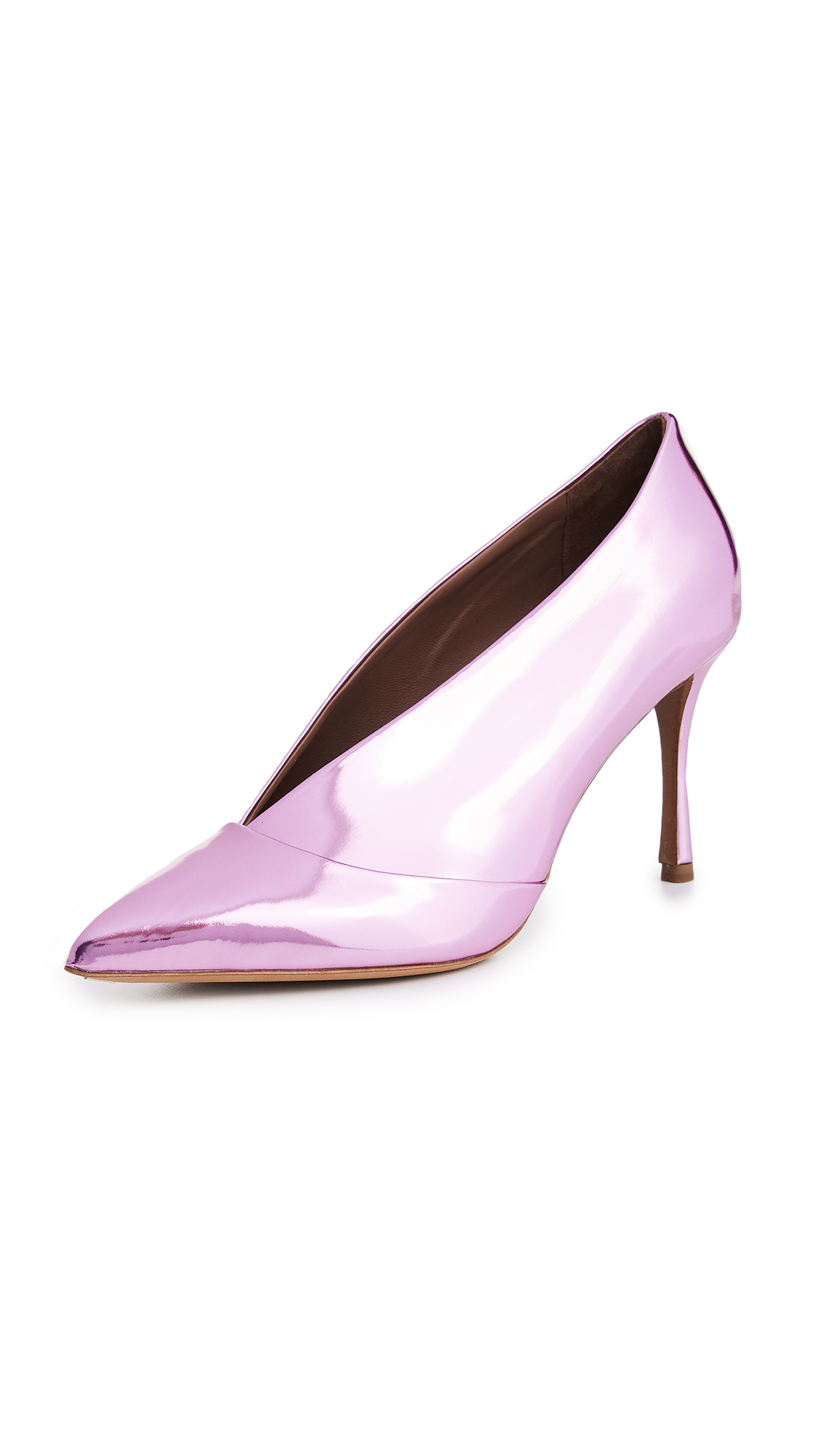 Tabitha Simmons Strike Metallic Pumps - Light Pink