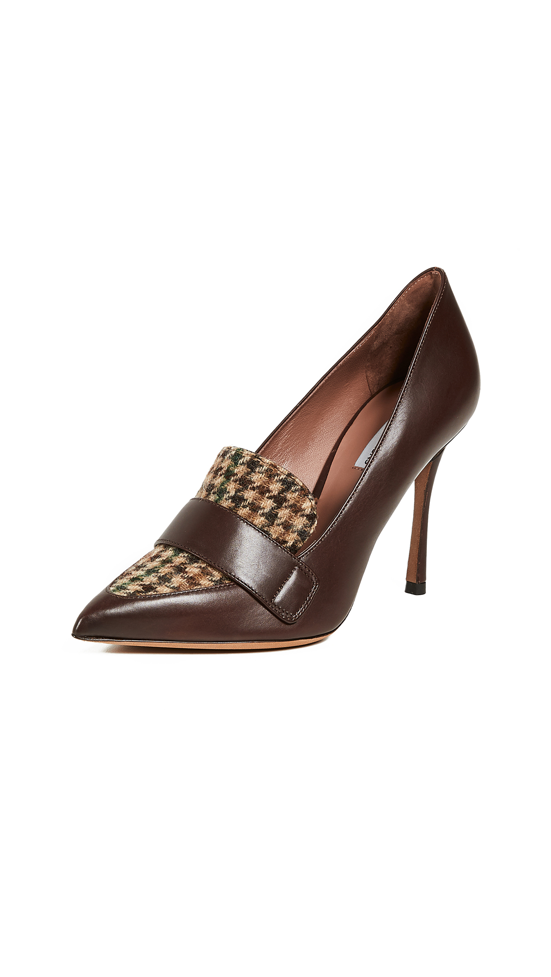 Tabitha Simmons Caspian Tweed Combo Pumps - Brown/Green Tweed