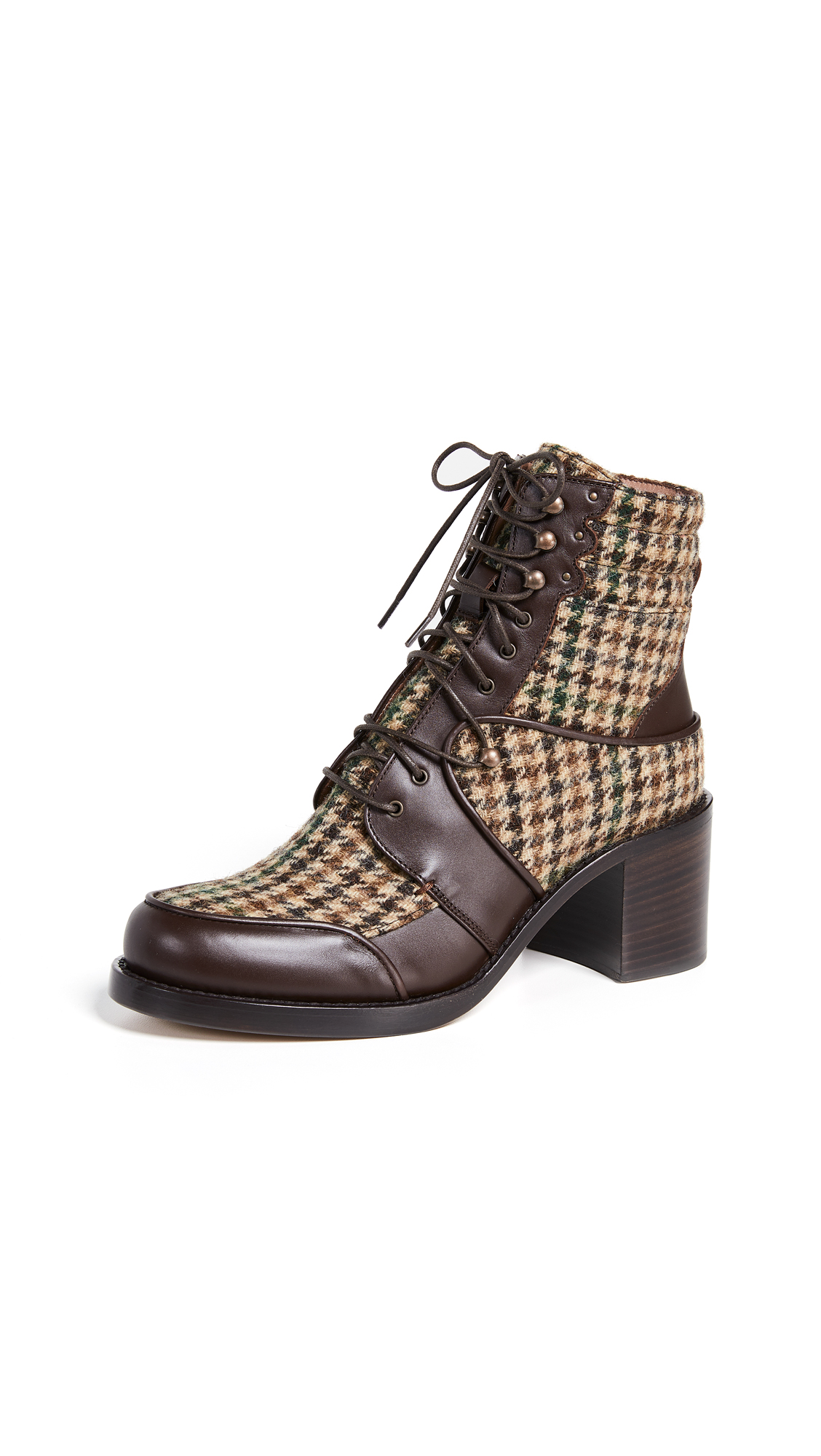 Tabitha Simmons Leo Lace Up Plaid Boots - Green Tweed/Brown