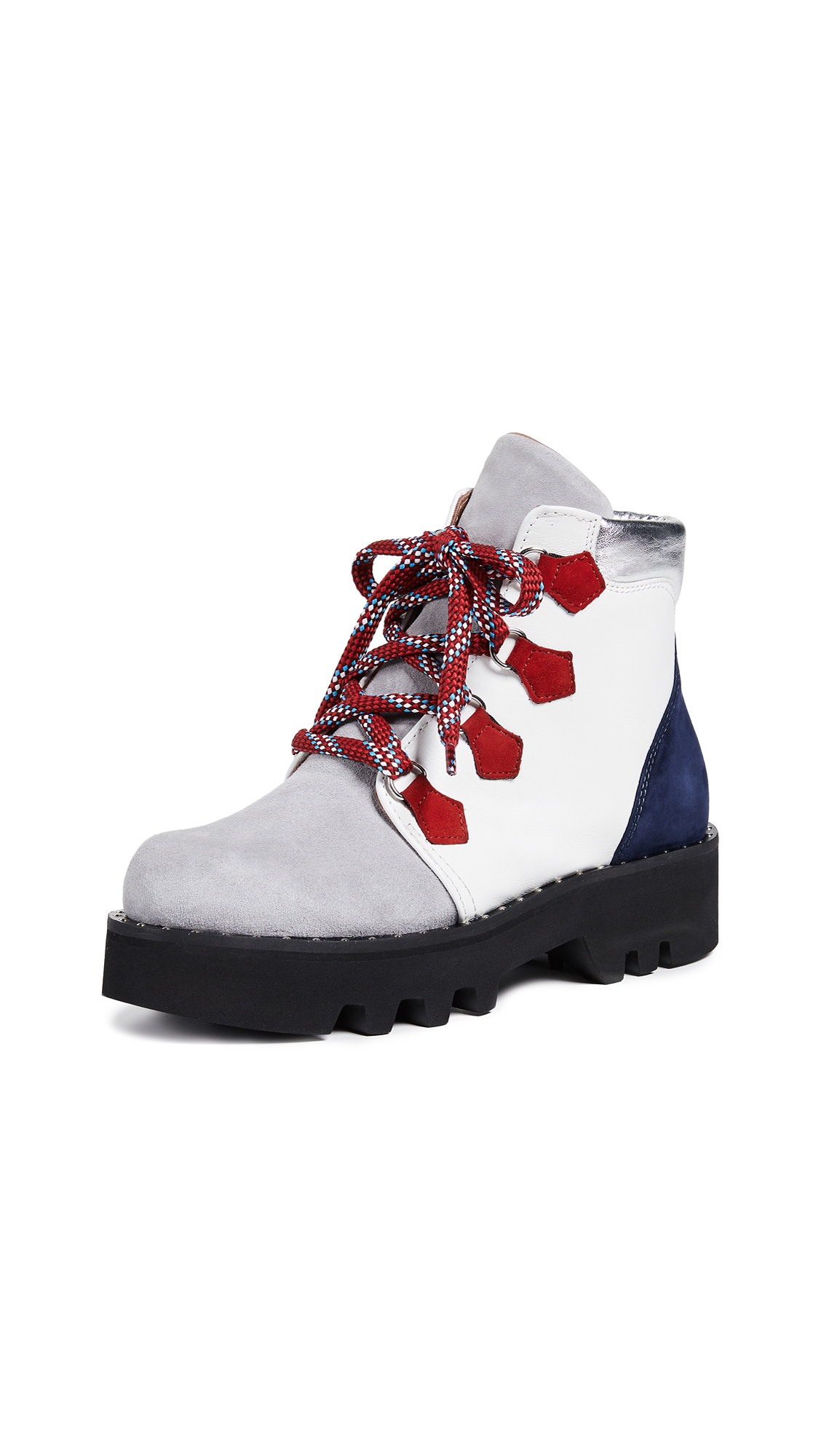 Tabitha Simmons Neir Hiker Boots - White/Grey/Navy/Red