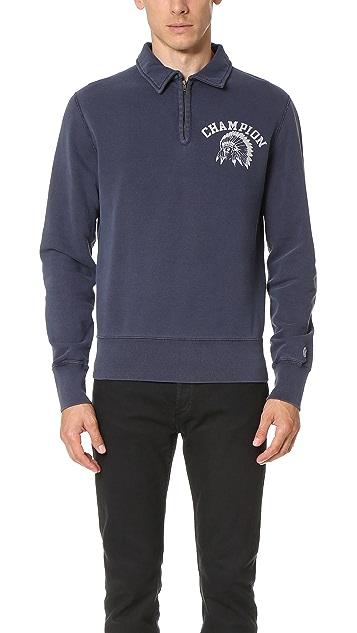 Todd Snyder + Champion Fleece Mock Zip Sweatshirt