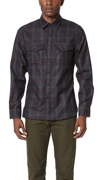 Todd Snyder Tonal Plum Check Shirt Jacket