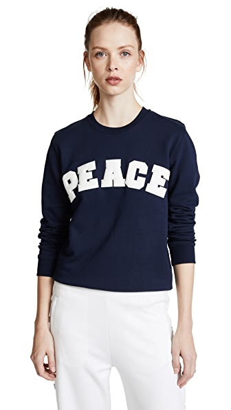 Tory Sport Letterman Crew Sweater In Tory Navy