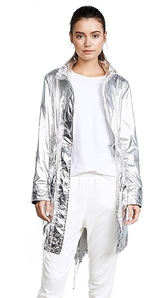 Tory Sport Metallic Nylon Coat In Silver