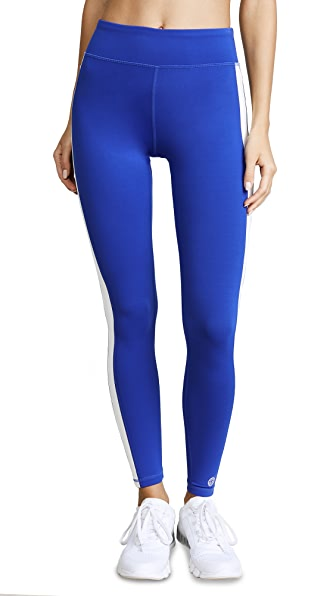 Tory Sport Colorblock Side Stripe Leggings In Slalom Blue