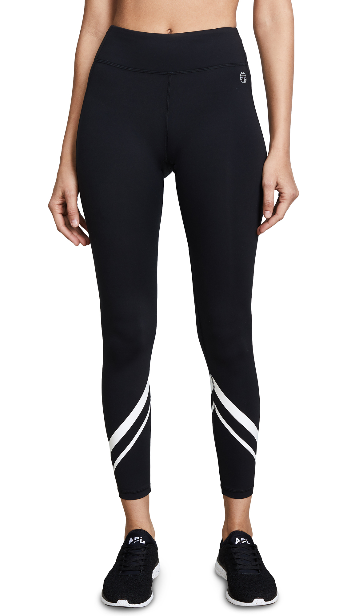 Tory Sport Chevron Full Length Leggings In Sport Black