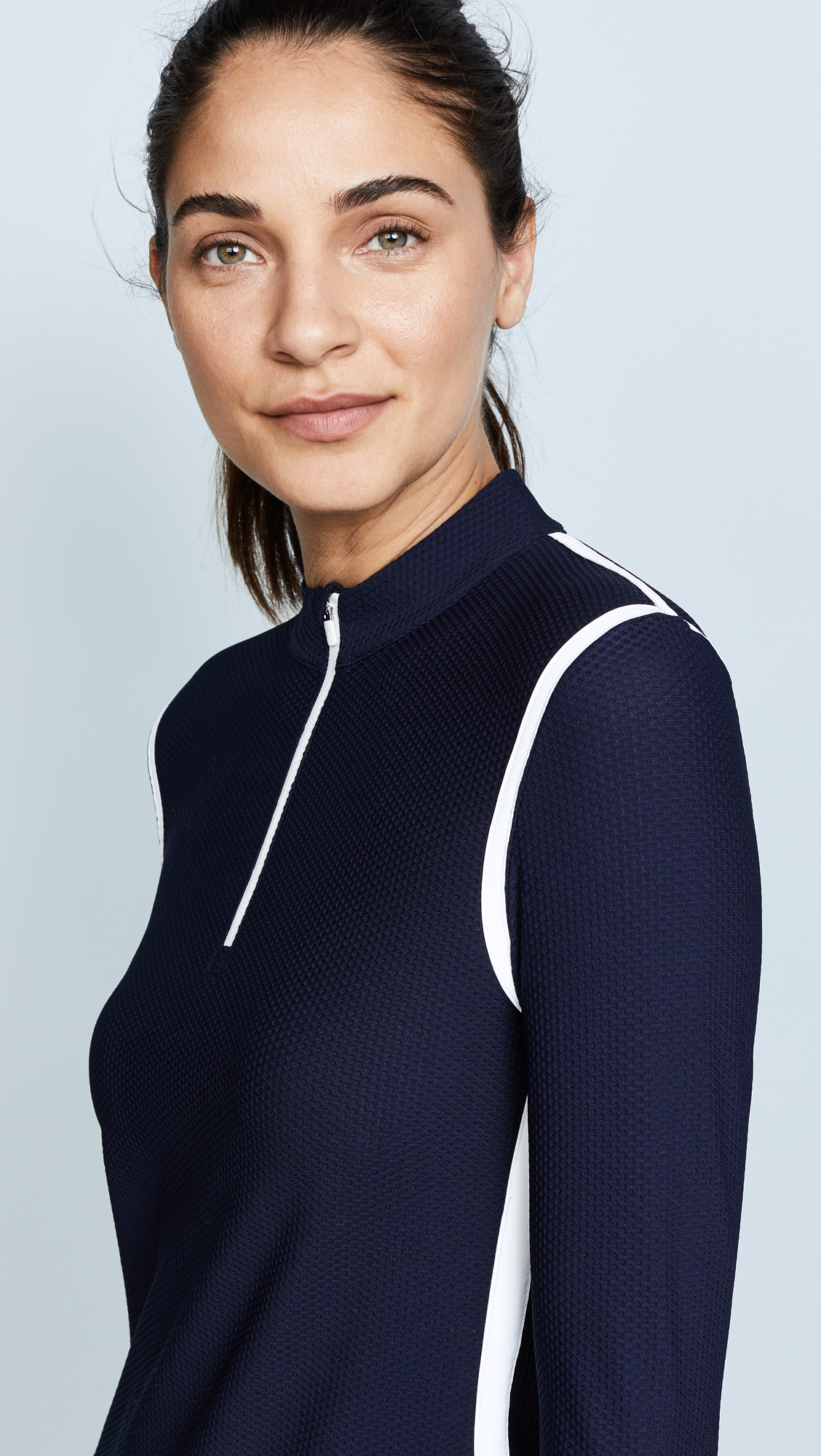 Parallel Stripe Reflective Quarter Zip Pullover, Tory Navy