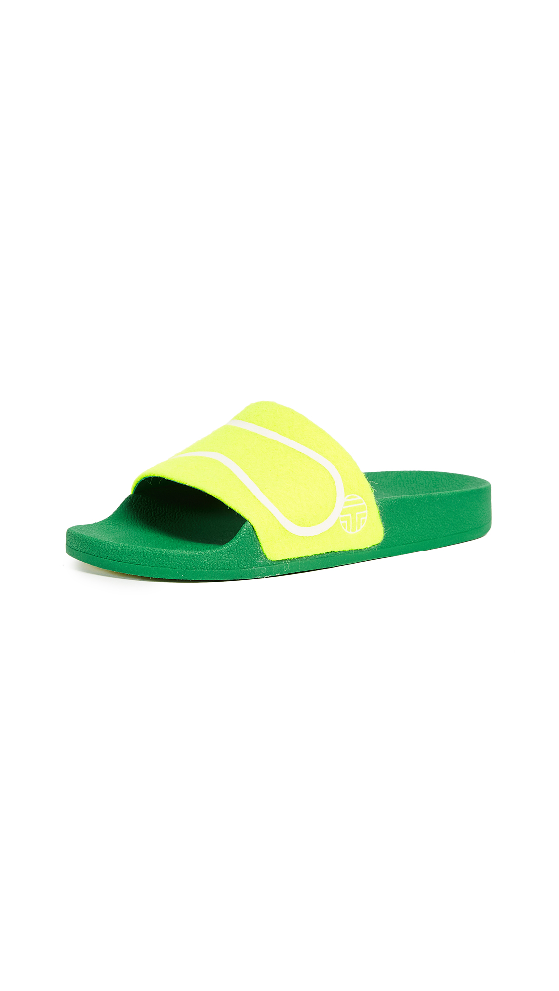 Tory Sport Tennis Ball Slides - Fluo Yellow/Off White
