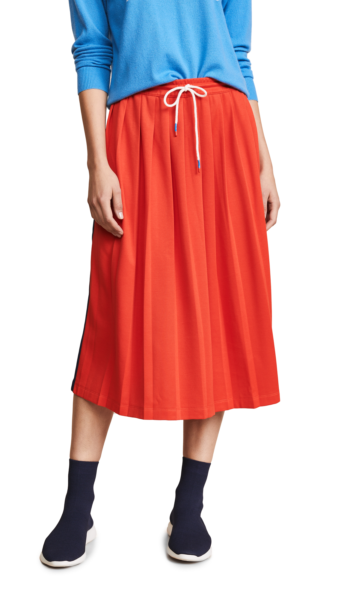 Tory Sport Double Stripe Track Skirt In Red