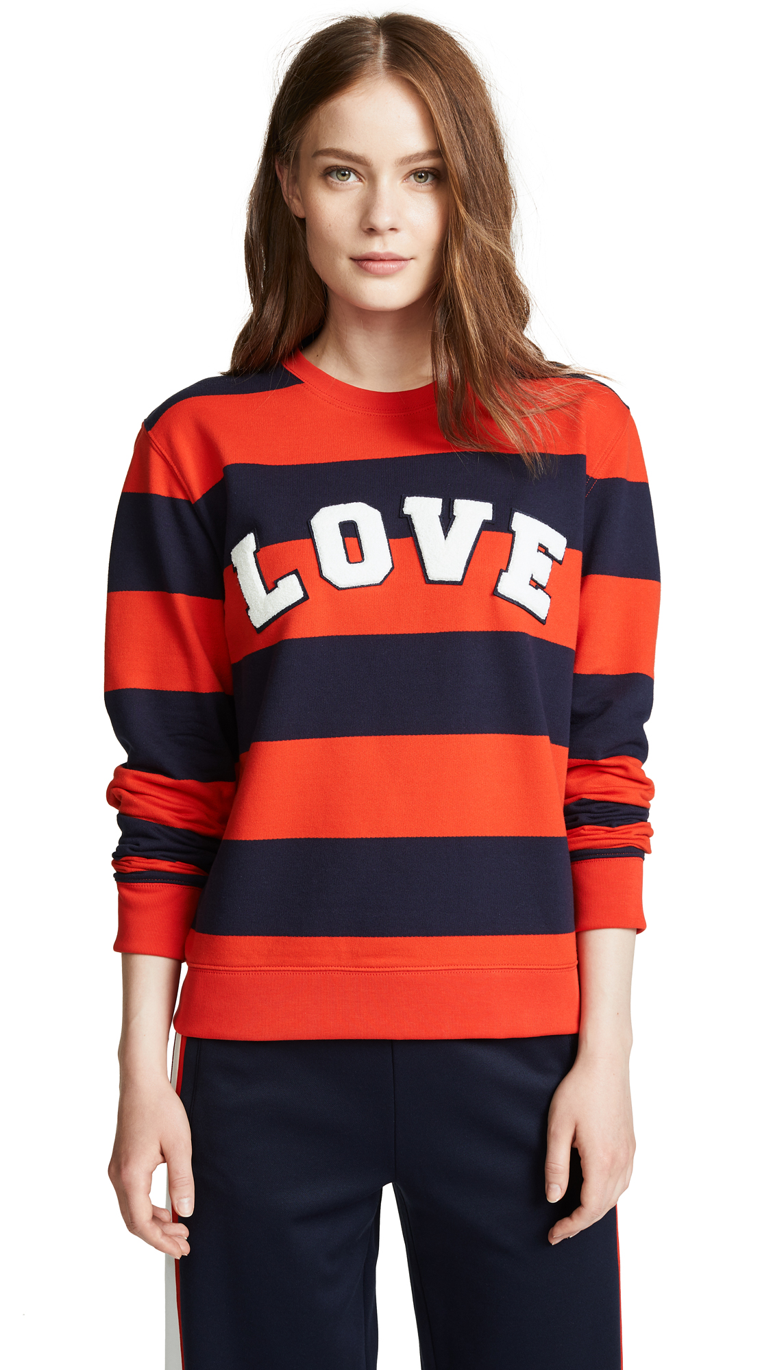 Love Striped Yarn-Dyed Graphic Sweatshirt in Red Broad Stripe