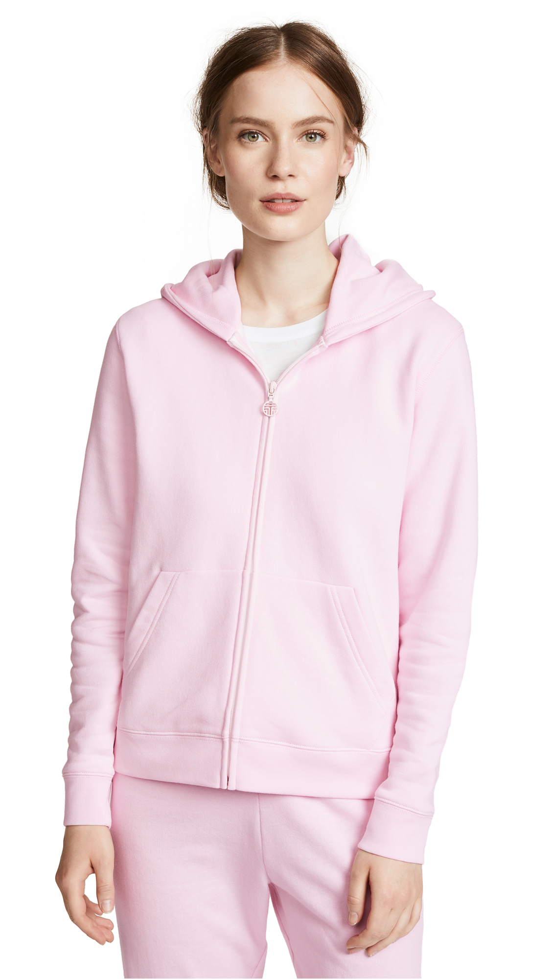 Tory Sport French Terry Zip Hoodie In Cotton Pink