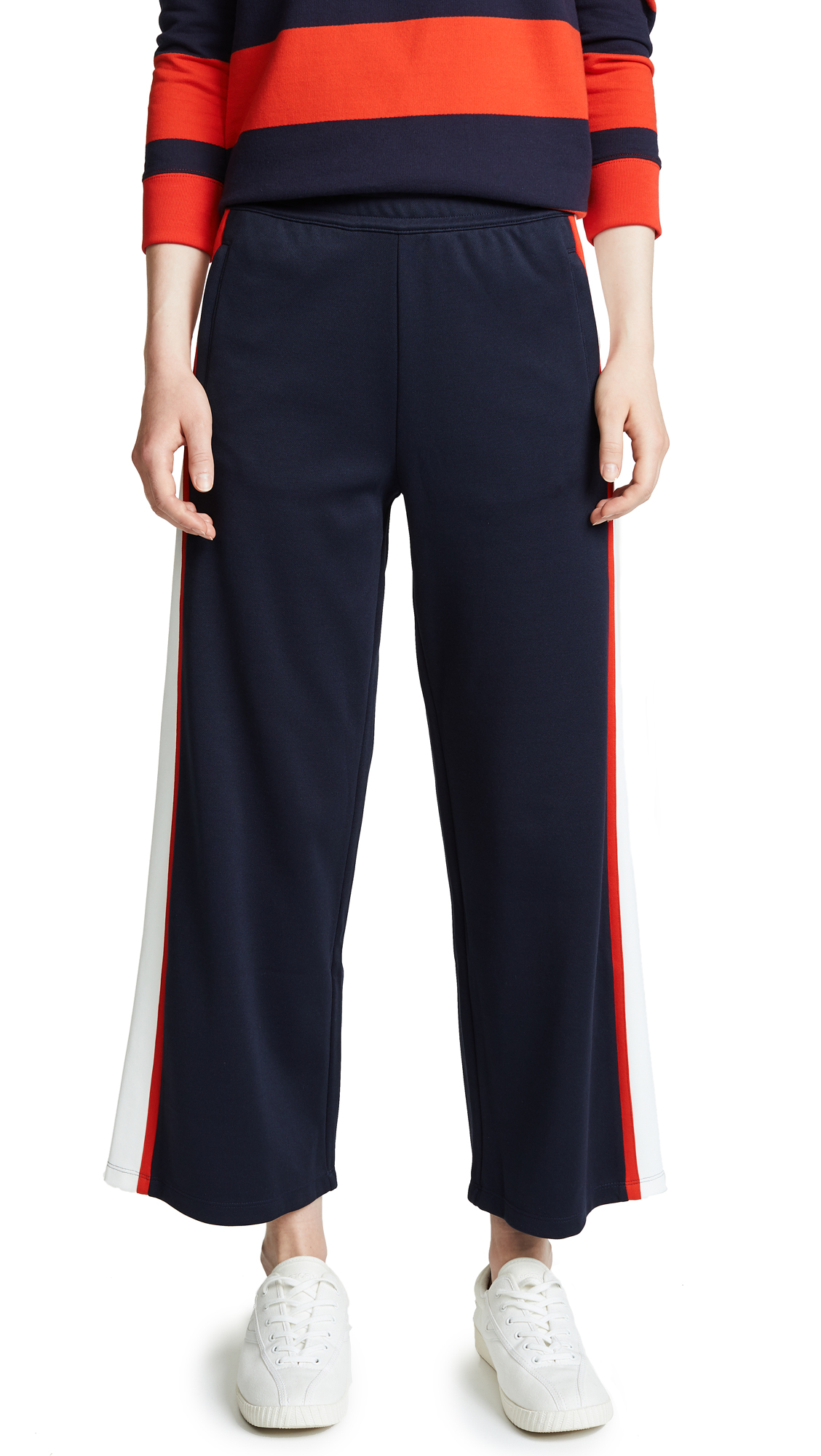 Wide-Leg Cropped Side-Stripe Jersey Track Pants, Tory Navy