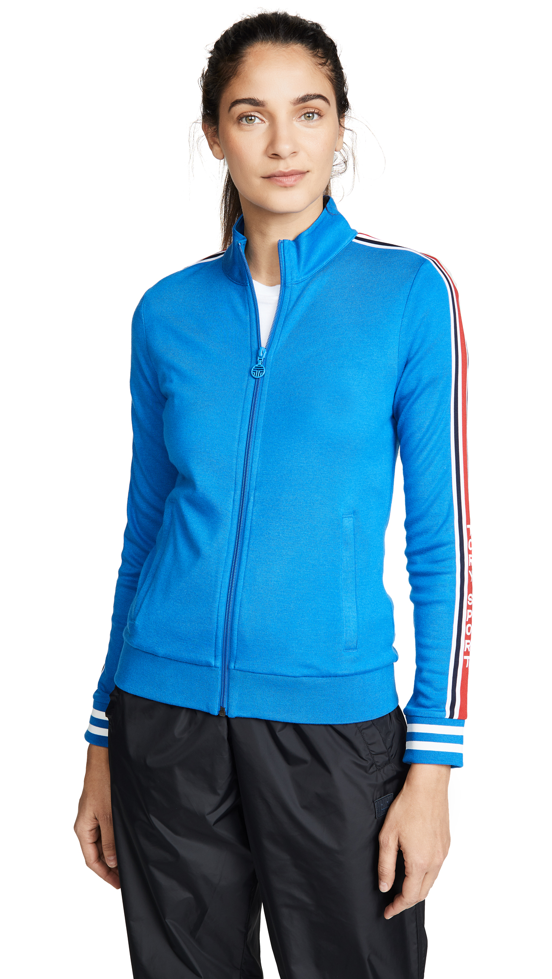 Tory Sport Wool Blend Track Jacket In Galleria Blue