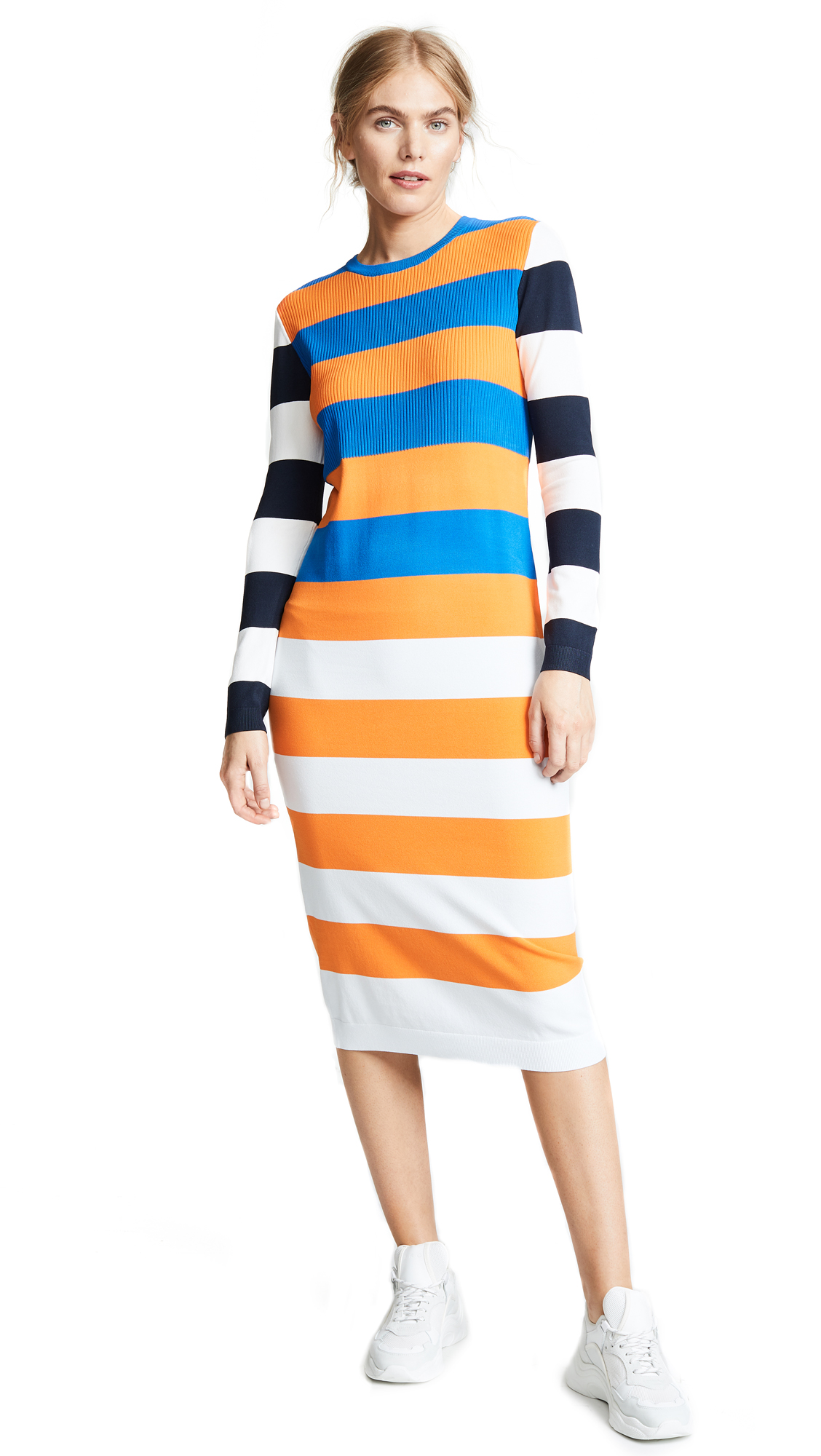 Tory Sport Broad Stripe Tech Knit Dress In Broad Stripe