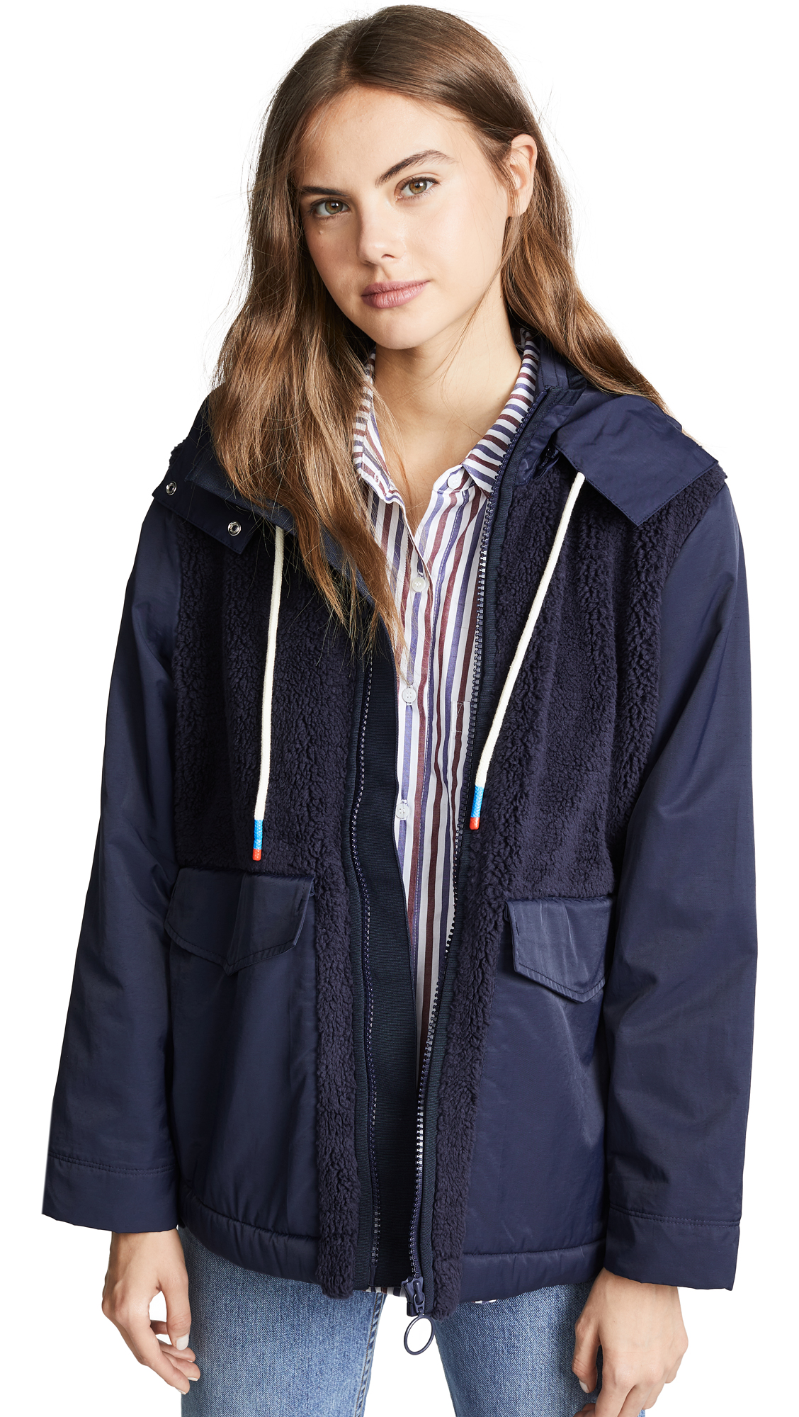 Tory Sport Sherpa Hooded Jacket - Tory Navy