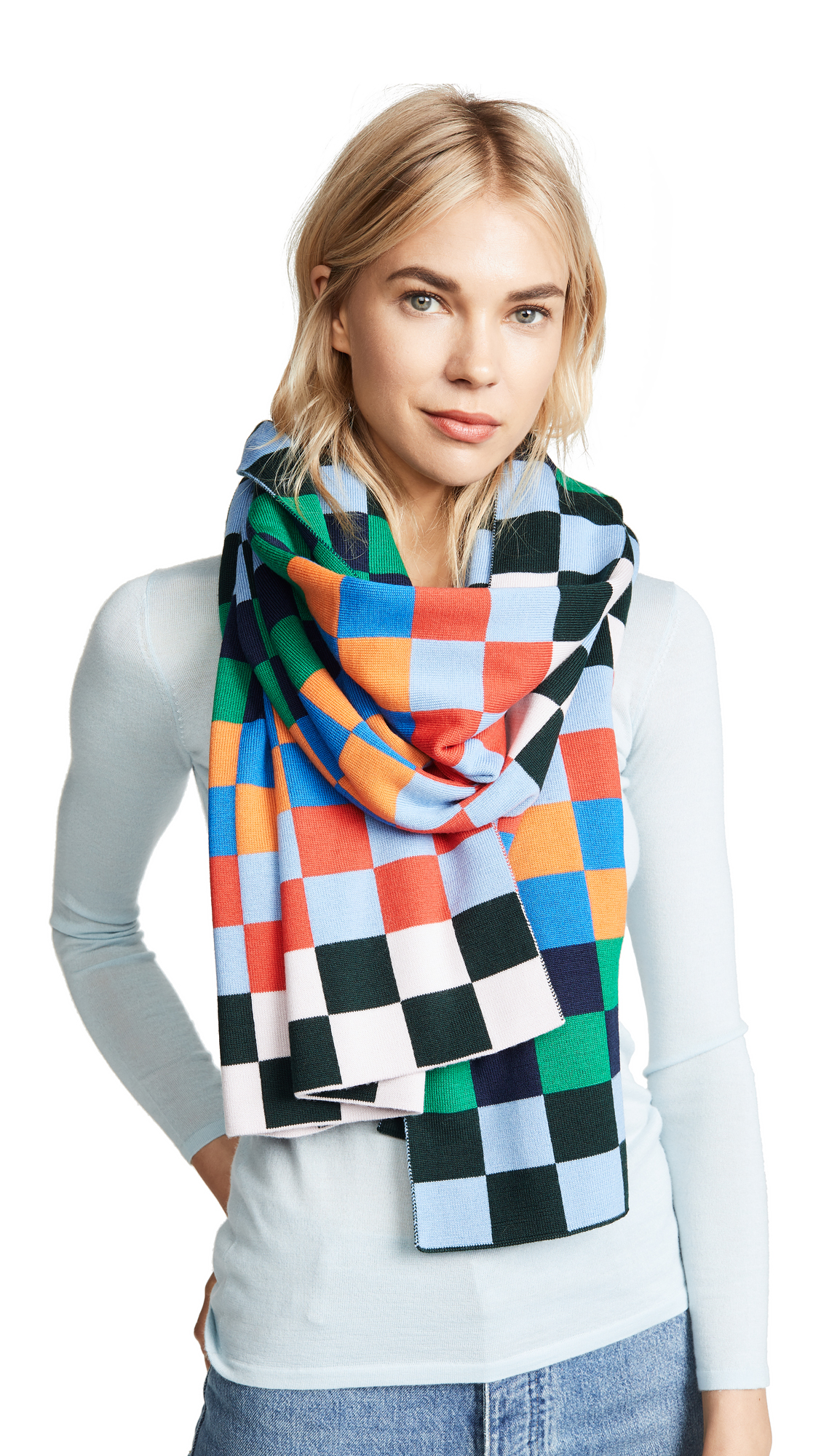 Tory Sport Checker Merino Scarf In Multi