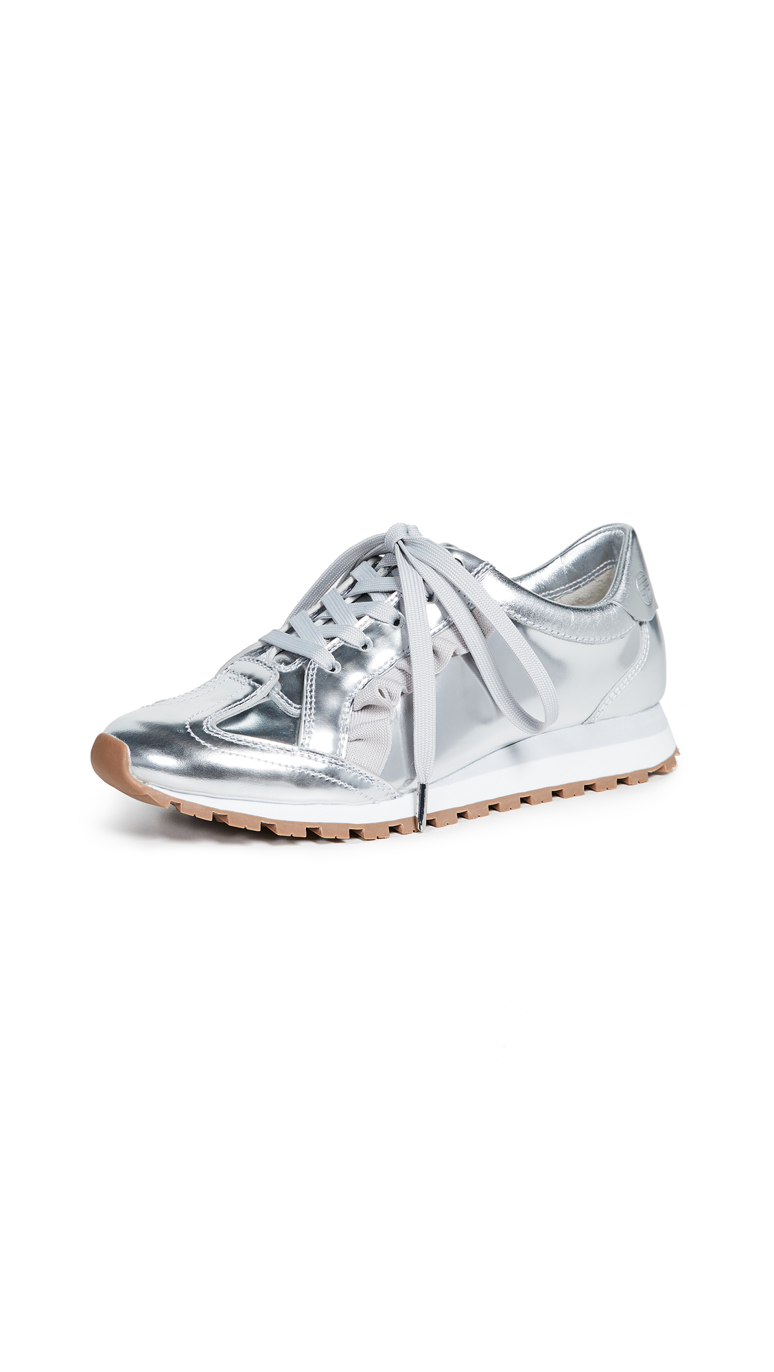 Tory Sport Ruffle Trainer Sneakers - Silver