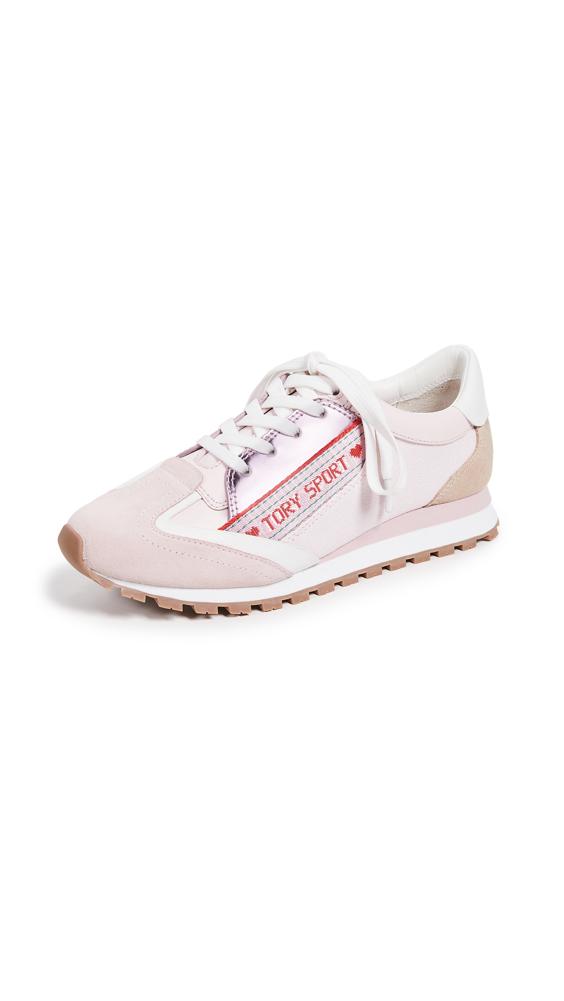 Tory Sport Banner Trainer Sneakers - Cotton Pink