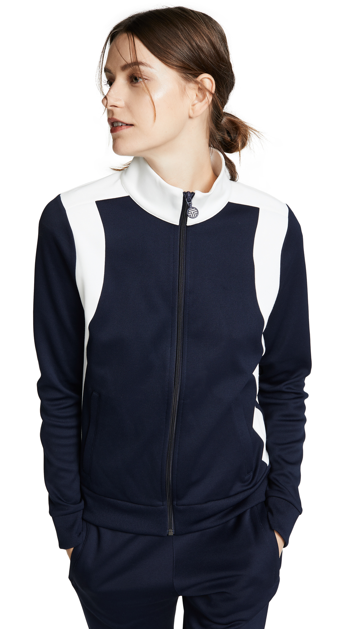 Tory Sport Colorblock Track Jacket - Tory Navy/Snow White