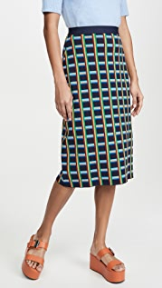 Tory Sport Tech Knit Checkered Skirt