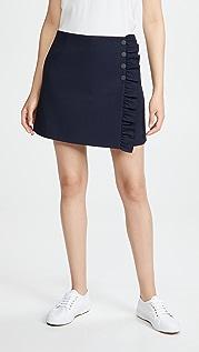 Tory Sport 高科技斜纹织物荷叶边半身裙