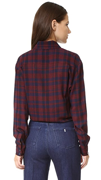 Tanya Taylor Gauzy Plaid Romy Button Up
