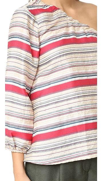 Tanya Taylor Textured Stripe Elsa Top