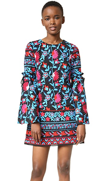 Tanya Taylor Embroidered Floral Irene Dress - Black Poppy Multi