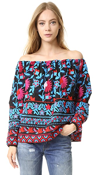 Tanya Taylor Embroidered Floral Nessa Top