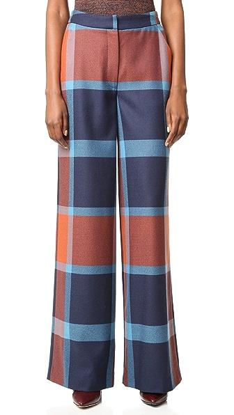Tanya Taylor Blanket Plaid Ashland Pants - Rust/Royal Multi