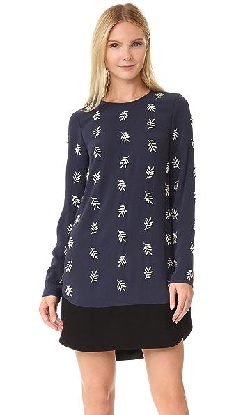 Tanya Taylor Crystal Leaf Embroidered Lindsey Dress