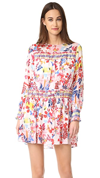 Tanya Taylor Floral Burst Hailey Dress In White Multi