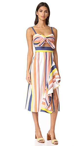 Tanya Taylor Alibi Striped Claire Dress - Rust Multi