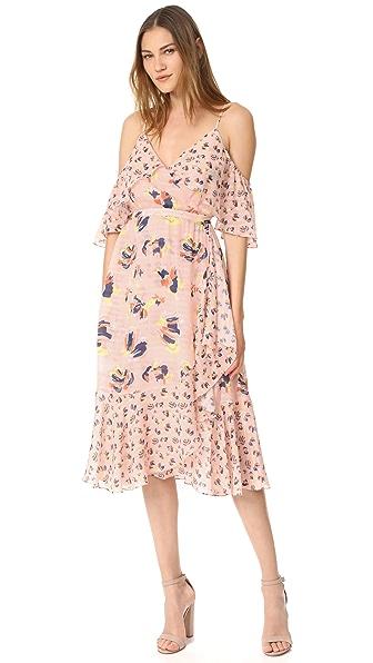 Tanya Taylor Textured Silk Abstract Floral Amylia Dress