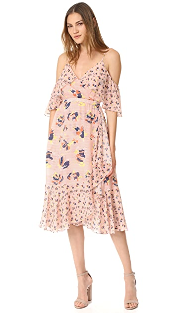 Tanya Taylor Textured Silk Abstract Floral Amylia Dress