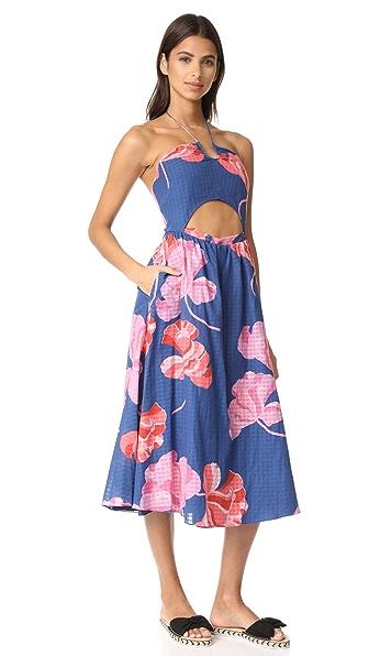 Tanya Taylor Fan Floral Plaid Fatima Dress