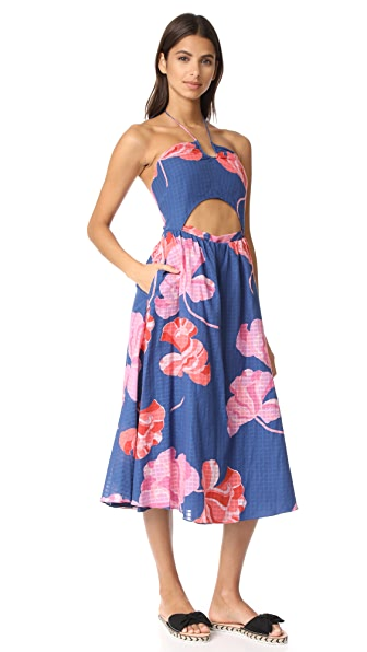 Tanya Taylor Fan Floral Plaid Fatima Dress In Cornflower/Rose