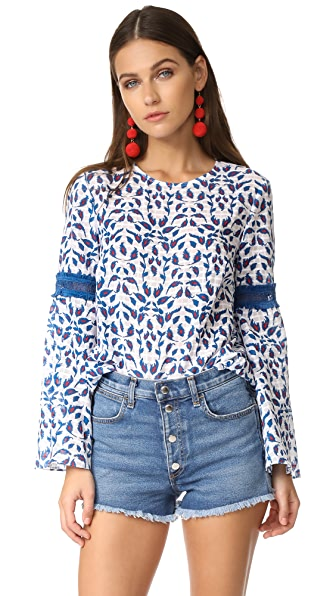 Tanya Taylor Leaf Ikat Plaid Martine Top - White/Electric Blue