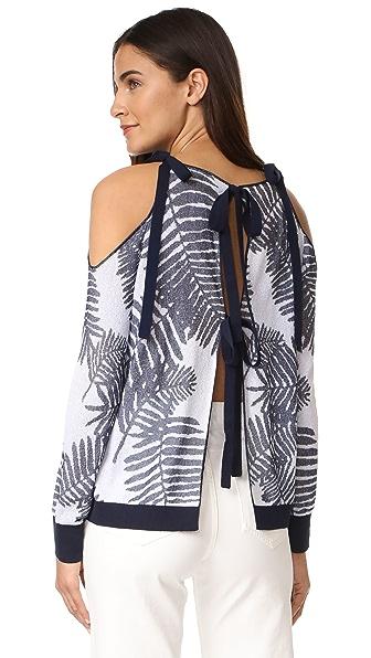 Tanya Taylor Palm Leaf Jacquard Sasha Sweater - Navy/White