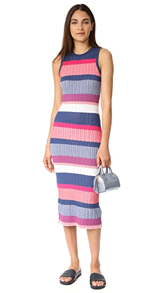 Tanya Taylor Drop Needle Naomi Dress - Fuschia Multi