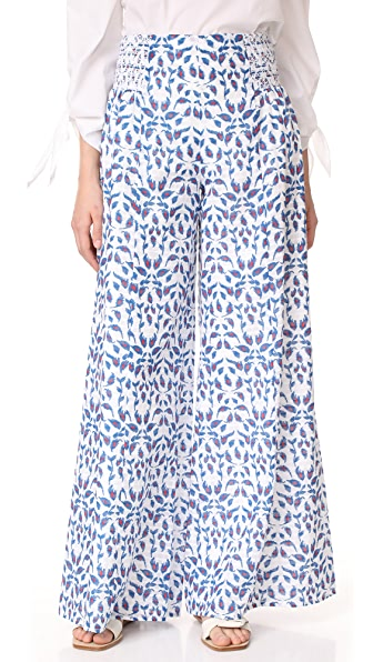 Tanya Taylor Parker Pants - White/Electric Blue